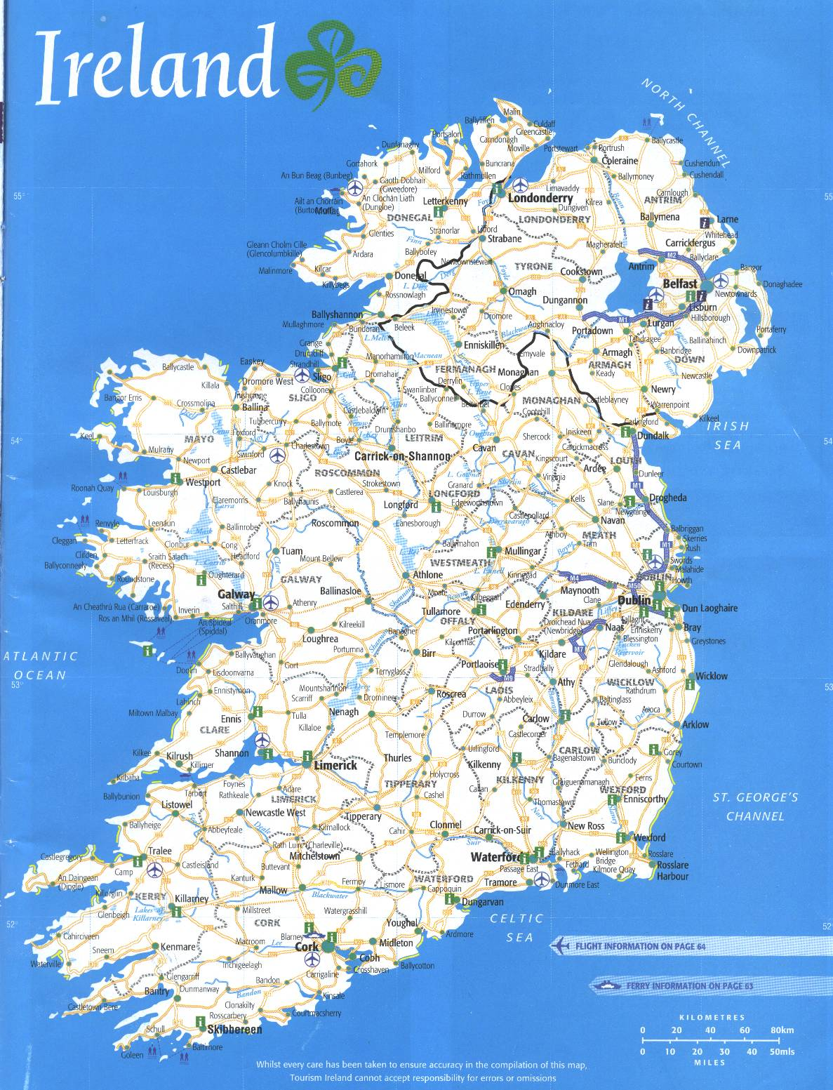 Full Map Of Ireland.Ireland